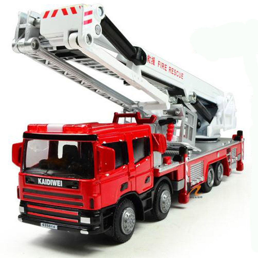 Kdw 1 50 O Scale Diecast Aerial Fire Truck Construction