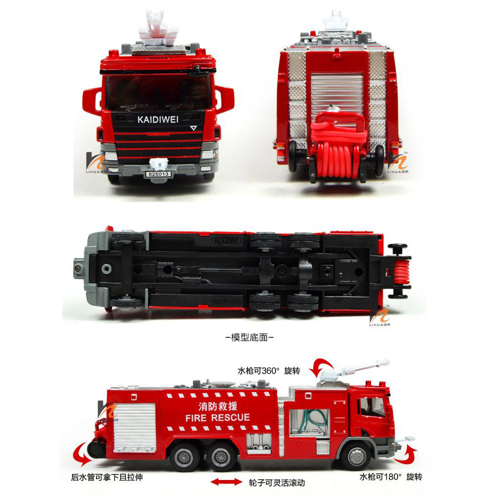 New Kdw 1 50 Scale Diecast Fire Rescue Trucks Vehicle Cars