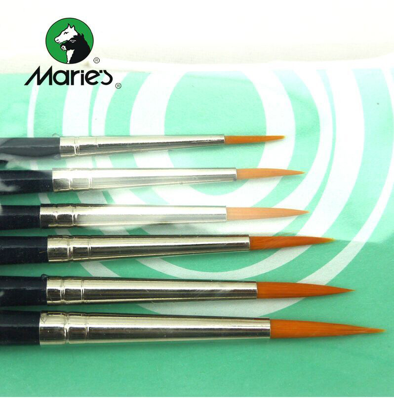 Mygjss71 6pcs marie 39 s flat wood brush pen set acrylic nail for Avon nail decoration brush