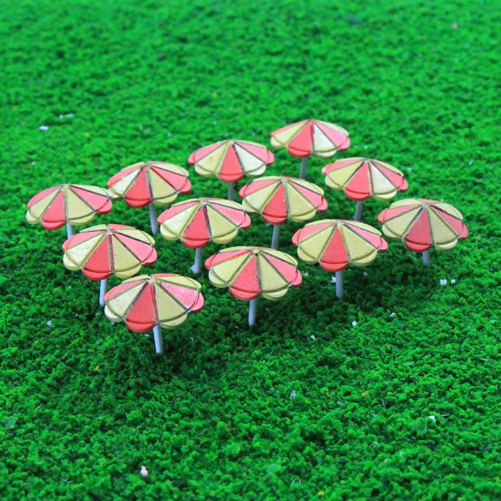 TYS41100 12pcs Model Train Sun Umbrella Parasol 1:100 TT Scale Garden Sea Beach